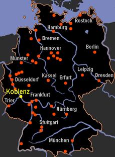 koblenz karte deutschland Karte Koblenz Deutschland